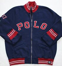 New $165 Polo Ralph Lauren Blue Heritage Varsity Baseball Bomber Jacket / Large