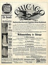 Hamburg-americana Packetfahrt AG. exposición mundial en chicago postdampfer 1893