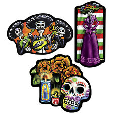 "18"" Day of the Dead  Sugar Skulls Skeletons 3 pc Cardboard Cutout Hanging Decora"