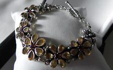 Divine! 28g sterling silver 925 DP Doug Paulus citrine & garnet floral bracelet