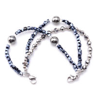 Medical ID Triple Navy/Silver Strand Beaded Interchangeable Bracelet - 2 Sizes!