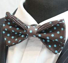 Bow Tie. UK Made. Brown Blue Polka Dot. Cotton. Premium Quality. Pre-Tied.