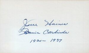 Jesse Haines 1918 Cincinnati Reds Baseball HOF Signed 3x5 Index Card w/ JSA COA