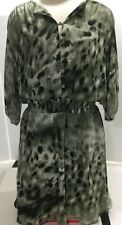 Guess Los Angeles Dress Size 8 Green Black Watercolor Camoflauge Lined EUC