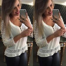 Donna Fashion Casual Chiffon scollo a V Top Manica Lunga Larga Maglietta Cavo
