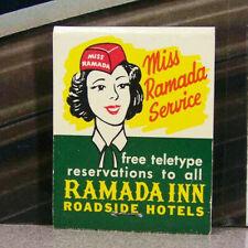 Vintage Matchbook S6 Miss Ramada Service Inn Roadside Hotels Free Teletype Hat
