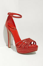 NIB Christian Dior Bracelet Red w Gold Stud Platform Sandal Shoes Pumps Sz 39.5
