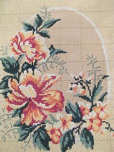 Gobelin  Stickbild  Stickvorlage  Stramin  Blumenmotiv    30x40 cm  NEU