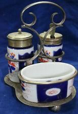 Antique Flow Blue Condiment Set Silverplate Holder Mustard Jam