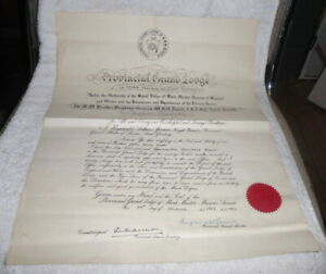 Vintage Masonic certificate, Mark Prov Grand Lodge of Sussex dated 1952