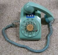 Teal/Aqua/Lt Blue Western Electric Bell System Rotary Dial Desk Phone