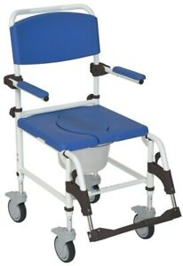 Drive Medical Aluminum Shower Commode Transport Chair NRS185007