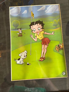 """""""Betty Boop Pulls the Pin"""" Limited Edition Print matted 11x14 lithograph Golf"""