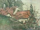 Vtg Lake Cottage Print Framed Picture Wall Art