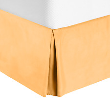 Luxury Pleated Tailored Bed Skirt - 14� Drop Dust Ruffle, King - Apricot Orange