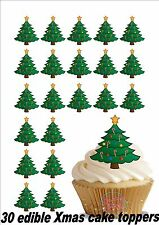 30 x 4cm Novelty Xmas Tree Edible Cake Toppers Decorations Christmas Cute Fun