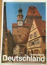 Vintage Travel Poster Pin-Up Deutschland 1970's Pin-up Hotel Town Clock Tower