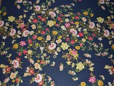 STRETCH GEORGETTE FLORAL PRINT-NAVY/PINK/GOLD/GREEN -DRESS FABRIC-FREE P&P
