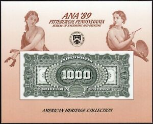 1989 Pittsburgh PA Silver Certificate $1000 Numismatist ANA '89 NSC48 SCCS B-129