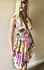 Cache Silk Satin Floral Smocked Halter Mini Sun Spring Dress 4 S Women's New