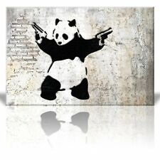 "Wall26 - ""Stick'em up"", Banksy Artwork - Panda Bear with Handguns - Canvas-32x48"