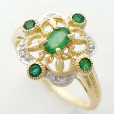 9K EMERALD DIAMOND RING. 5 NATURAL EMERALDS + 4 GENUINE DIAMONDS. VINTAGE STYLE.
