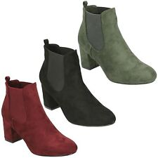 F50586 LADIES WOMENS ANNE MICHELLE PULL ON MID HEEL CASUAL CHELSEA ANKLE BOOTS