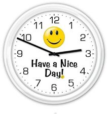 Have a Nice Day! Smiley Face Wall Clock - Home Office Business Smile GIFT