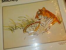 """New listing Bucilla Stitchery Crewel Embroidery Kit 48903 Tiger'S Haven 18x24"""" picture"""