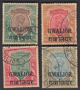 GWALIOR INDIAN STATE KG V SG 96, 97, 99-100 USED CV £167