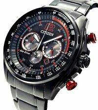 Citizen Eco-DRIVE CA4195-51E Mens Black Stainless Steel Red Solar Chrono Watch
