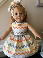 "Colorful Chevron Doll Dress, Ribbo Clothes Made for 18"" American Girl doll, Gotz"