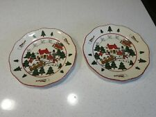MASONS CHRISTMAS VILLAGE LOT OF (2) SALAD PLATES