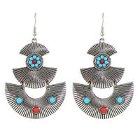 Vintage Retro Style Blue Red  Silver Tone Drop Dangle Long Earrings E1072