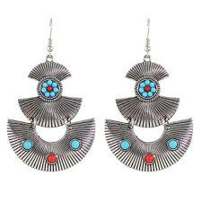 Vintage Retro Style Blue Red  Silver Tone Drop Dangle Long Earrings E1072