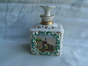 Lovely old Paris  porcelain Scent bottle & stopper painted with flowers