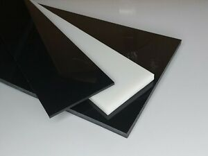 Prédécoupé Plaque De Pom - C Noir Et Blanc Épaisseur 1 MM Pom Acetal ( 40,00€/ M
