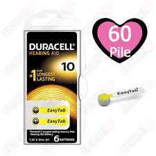 60 pile batterie per apparecchi acustici DURACELL 10 Activair scadenza 4 anni