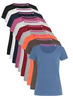 Ladies Womens GREY PINK BLUE BLACK BROWN BURGUNDY Cotton Elastane T-Shirt Tshirt