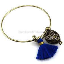 BB9 Bronze Leaf Heart Pearl Cage Tassel Akoya Oyster Copper Bangle Bracelet