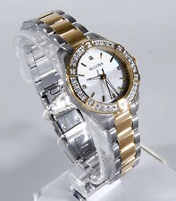 Bulova Womens Two Tone Gold Stainless Steel Diamond Mother-of-Pearl Watch 98R236