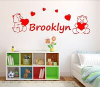 Teddy Bears & Love Hearts Kids Personalised Any Name Wall Art Mural Sticker