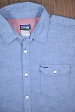 Patagonia Lightweight Chambray SS Button Front Shirt Blue Men's Large L