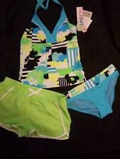 41f1eea77edae NWT ZERO X POSUR turquoise green 3 pc tankini swimsuit shorts cover-up girls  12