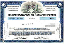 International Telephone and Telegraph Corporation 1977 Stock Certificate