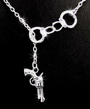 New Handcuffs Pistol Gun Charm Pendant Silver Chain Necklace Handcuff