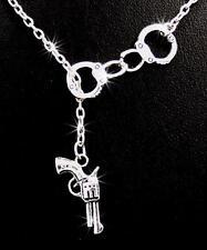 New Handcuffs Pistol Gun Charm Pendant Silver Chain Necklace Handcuff