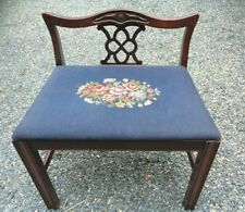 Antique 1927 Embroidered Seat Piano Beach Vanity Seat