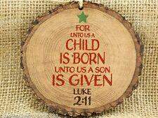 Primitive Wood Barky Christmas Ornament Child is Born P Graham Dunn USA Made