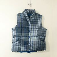 Lands' End Plaid Quilted Puffer Vest Size Large Down Feather Filling Blue